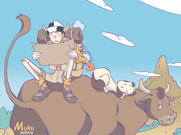 丑年に牛の背で宝の地図を見るムクとクウ