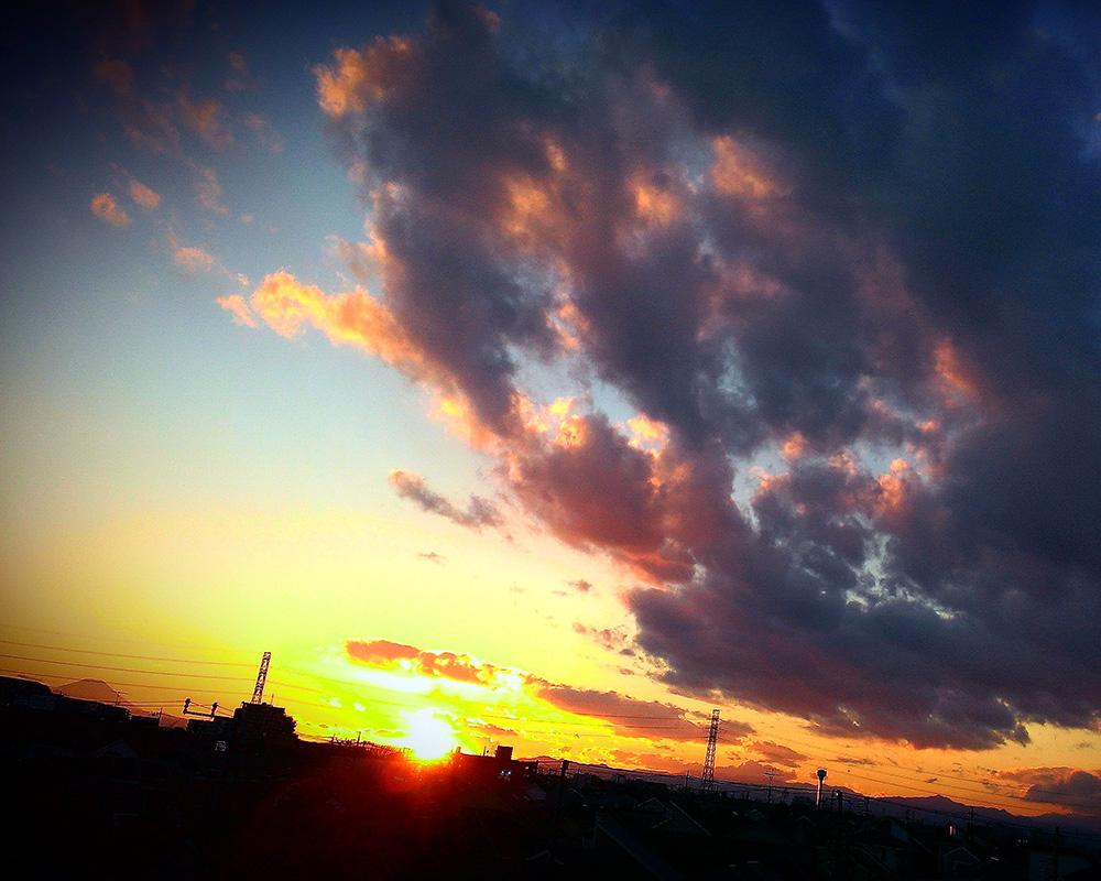 自宅から見える夕焼け