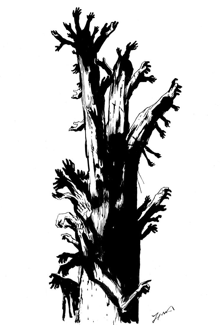 切られた枝から手が生えてきたケヤキ