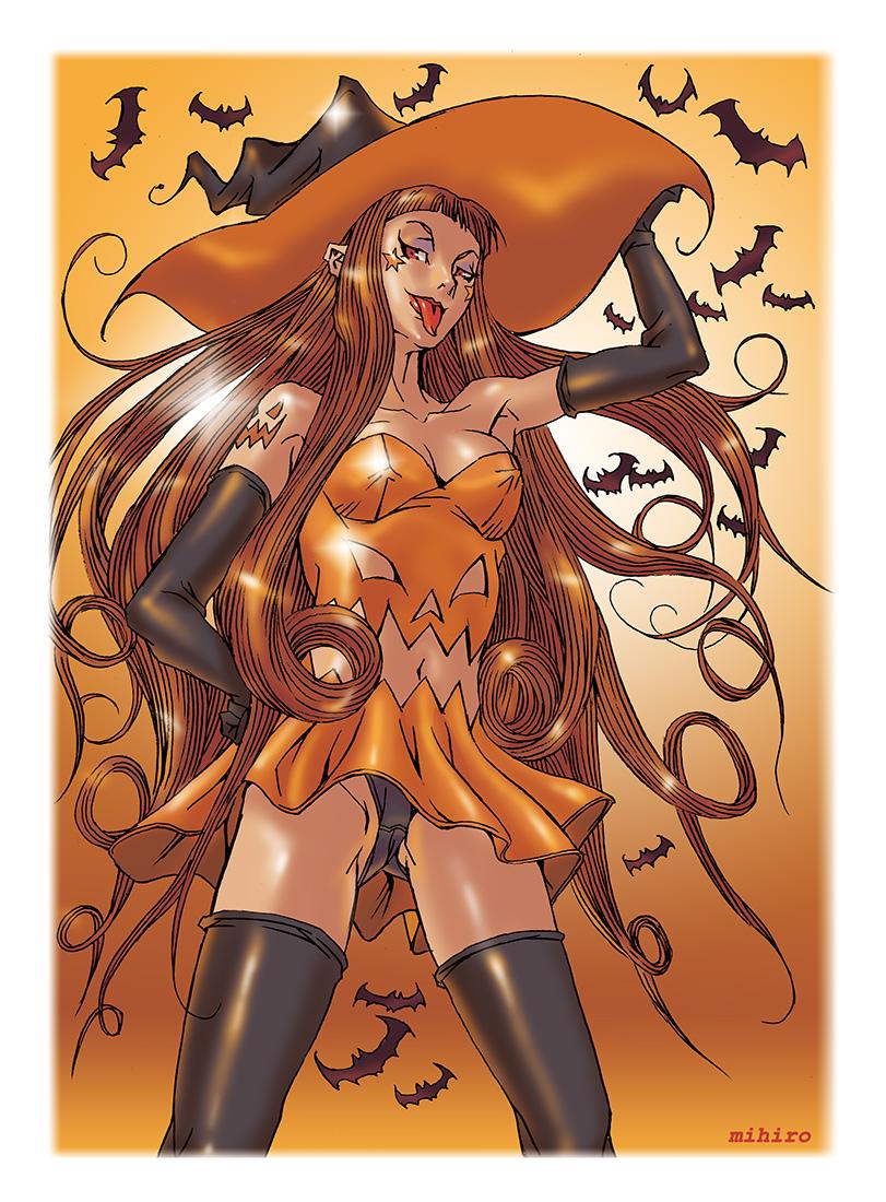 かぼちゃの魔女が舌を出す
