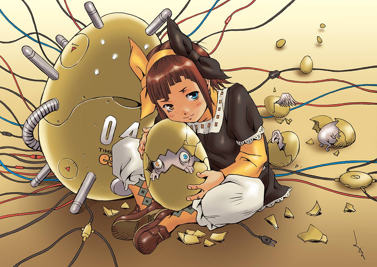 卵型タイムマシーンを抱えるエモ
