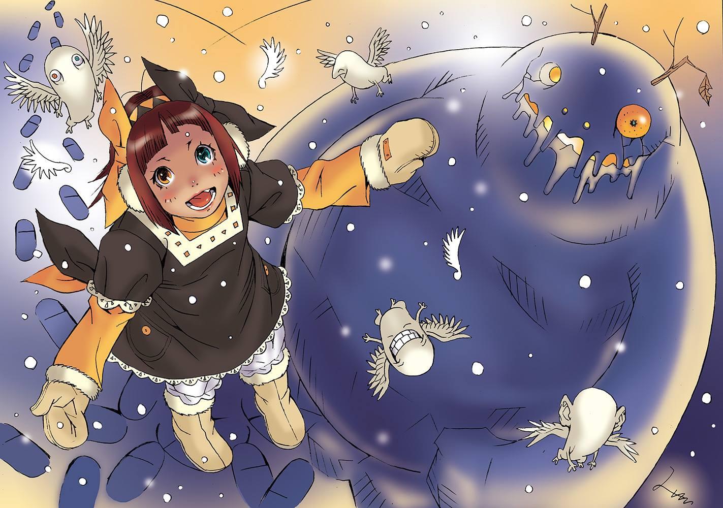 雪の羽根で羽ばたくエモ
