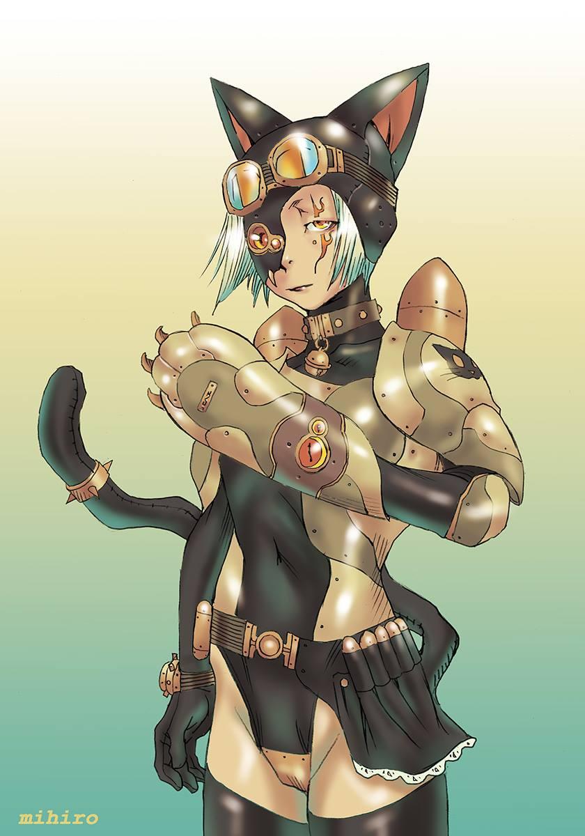 エロかっこいいスチームパンクな黒猫ガール