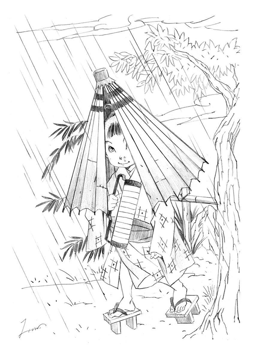 雨が降ると駆けてくる雨ふり小僧