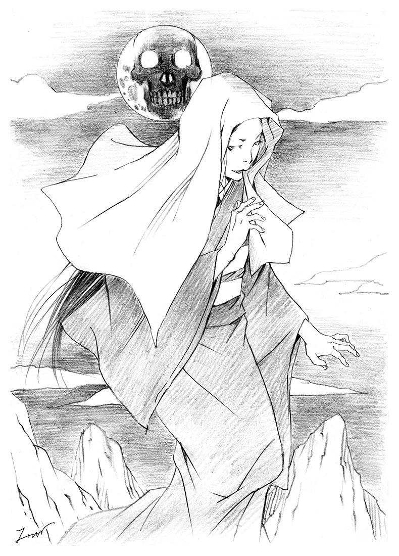 髑髏月に照らされる女の幽霊