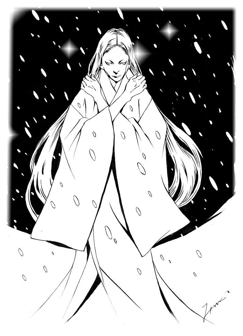 吹雪にたたずむ雪女